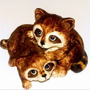1980's HOMCO Porcelain Two Brown Baby Raccoons